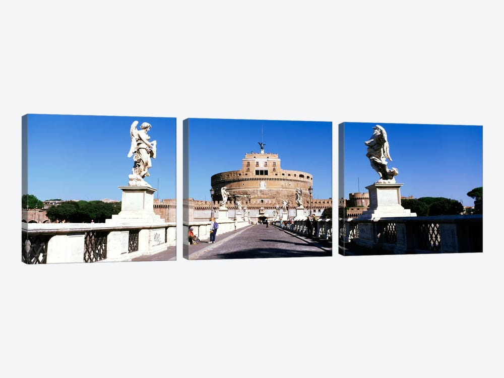 Statues on both sides of a bridge, St. Angels Castle, Rome, Italy by Panoramic Images 3-piece Canvas Art Print
