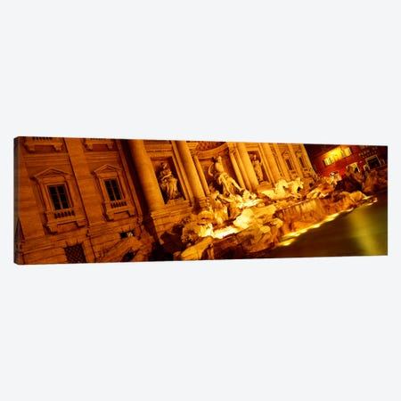 Side-Angle View At Night, Trevi Fountain, Rome, Lazio, Italy Canvas Print #PIM1138} by Panoramic Images Canvas Print