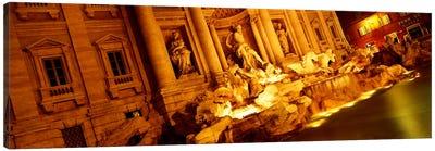 Side-Angle View At Night, Trevi Fountain, Rome, Lazio, Italy Canvas Print #PIM1138