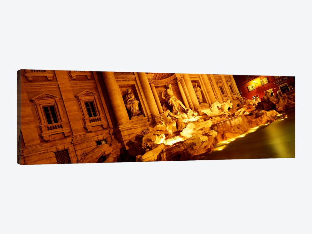 Side-Angle View At Night, Trevi Fountain, Rome, Lazio, Italy by Panoramic Images 1-piece Canvas Artwork