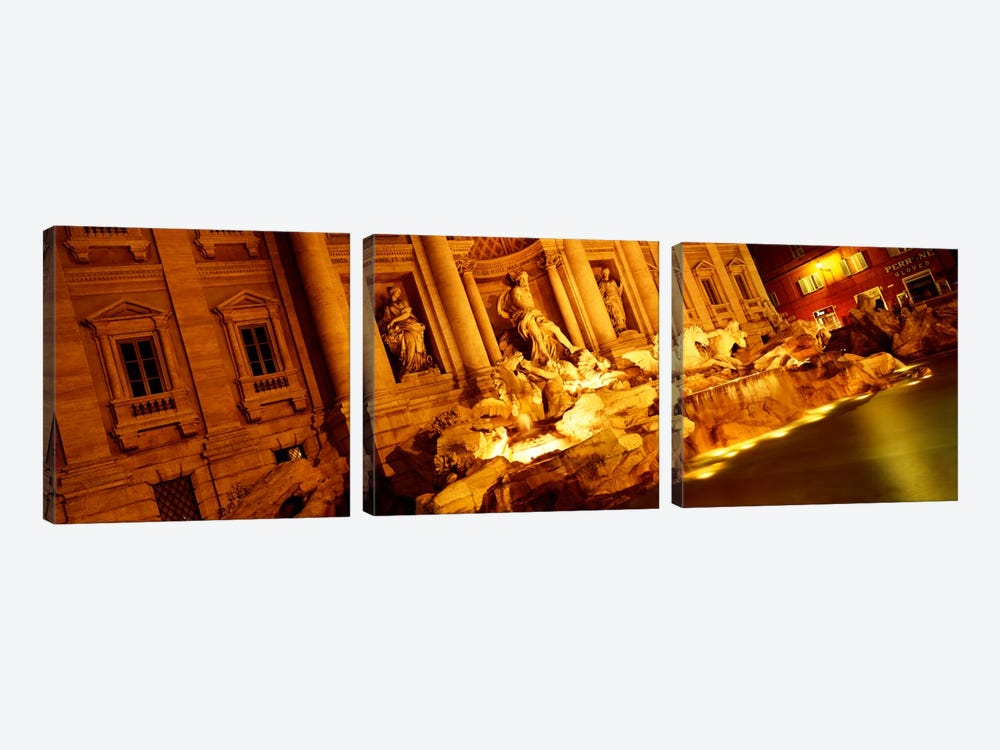 Side-Angle View At Night, Trevi Fountain, Rome, Lazio, Italy by Panoramic Images 3-piece Canvas Artwork