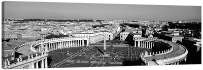 High angle view of a town, St. Peter's Square, Vatican City, Rome, Italy (black & white) Canvas Art Print