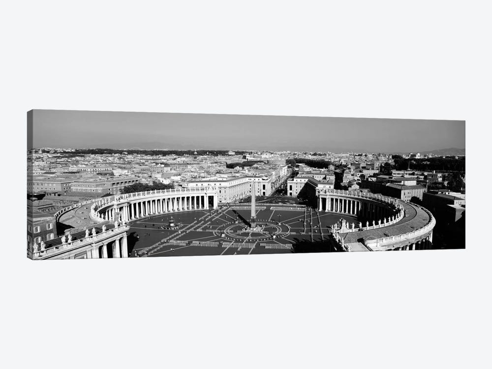 High angle view of a town, St. Peter's Square, Vatican City, Rome, Italy (black & white) by Panoramic Images 1-piece Art Print