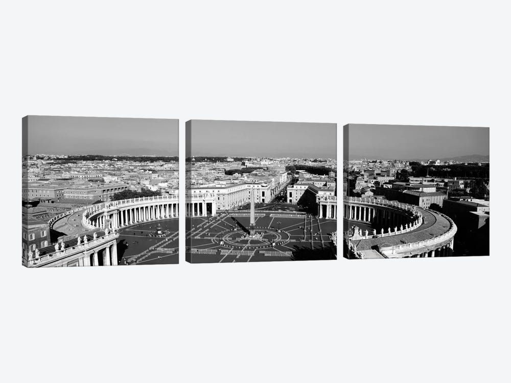 High angle view of a town, St. Peter's Square, Vatican City, Rome, Italy (black & white) by Panoramic Images 3-piece Art Print