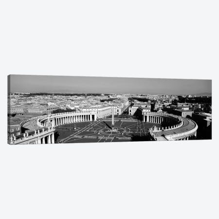 High angle view of a town, St. Peter's Square, Vatican City, Rome, Italy (black & white) Canvas Print #PIM1139bw} by Panoramic Images Canvas Art