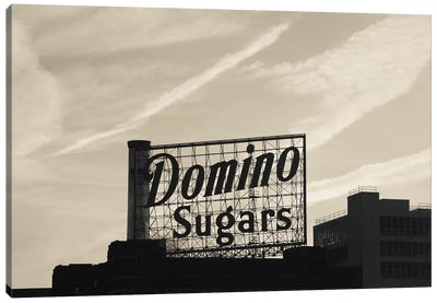 Low angle view of domino sugar sign, Inner Harbor, Baltimore, Maryland, USA Canvas Art Print