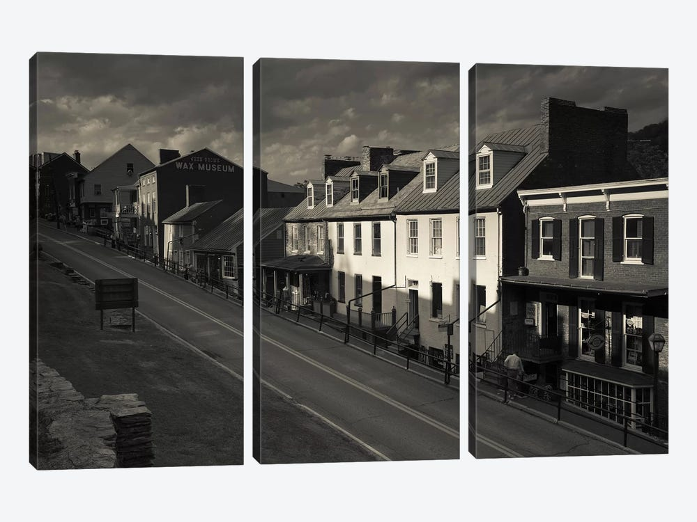 Buildings along a street, High street, Harpers Ferry National Historic Park, Harpers Ferry, West Virginia, USA by Panoramic Images 3-piece Canvas Wall Art