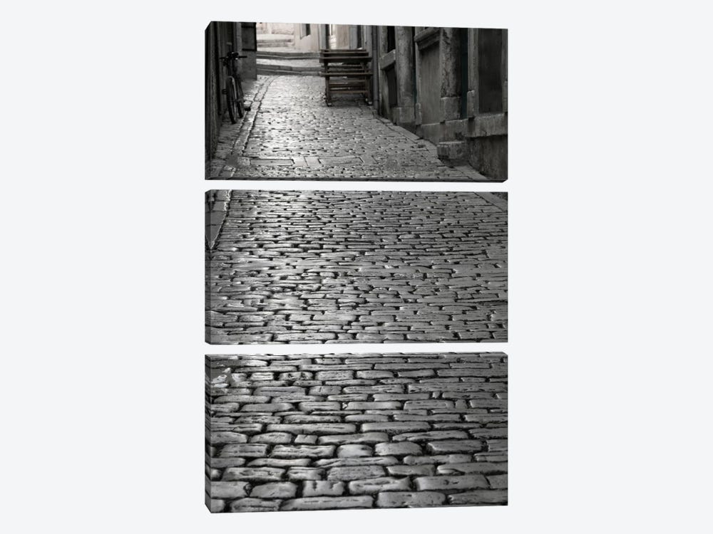 Cobbles street, Rovinj, Istria, Croatia by Panoramic Images 3-piece Canvas Wall Art