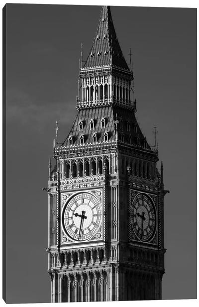 Low angle view of a clock tower, Big Ben, Houses Of Parliament, City Of Westminster, London, England Canvas Art Print