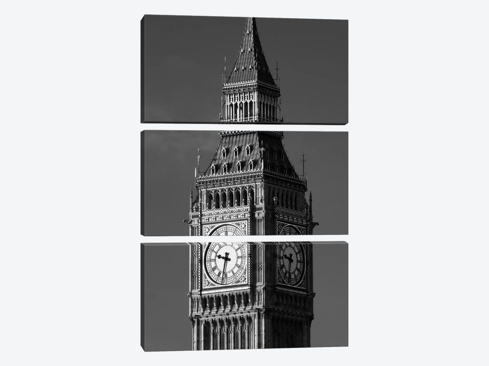 Low angle view of a clock tower, Big Ben, Houses Of Parliament, City Of Westminster, London, England by Panoramic Images 3-piece Canvas Print