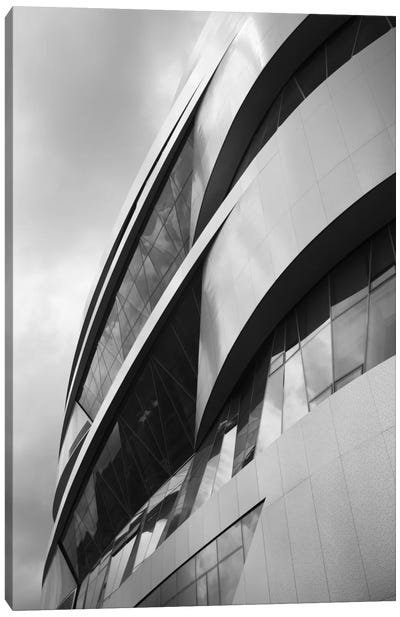 Low angle view of an automotive museum, Mercedes-Benz Museum, Stuttgart, Baden-Wurttemberg, Germany Canvas Art Print