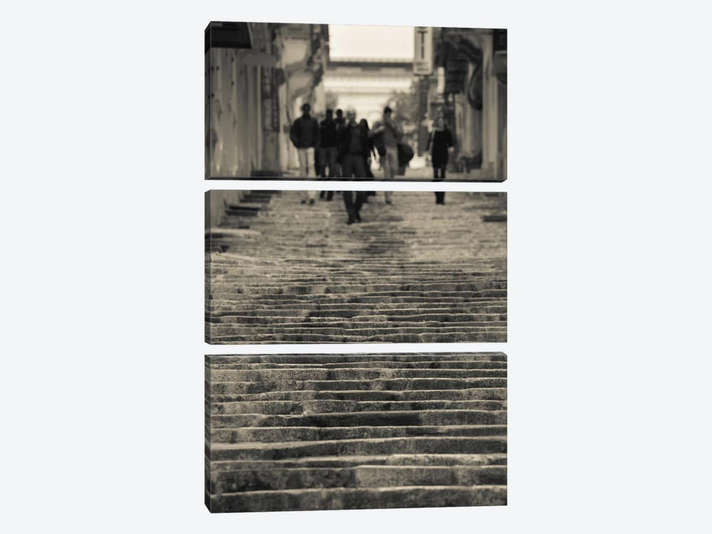 People moving down on steps, Triq Sant-Orsla, Valletta, Malta by Panoramic Images 3-piece Canvas Artwork