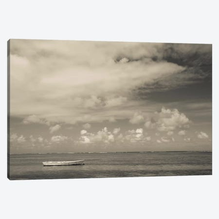 Seascape with a small boat, Playa Luquillo Beach, Luquillo, Puerto Rico Canvas Print #PIM11542} by Panoramic Images Canvas Wall Art