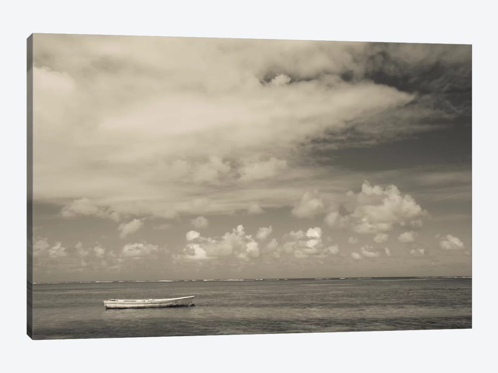 Seascape with a small boat, Playa Luquillo Beach, Luquillo, Puerto Rico by Panoramic Images 1-piece Canvas Art
