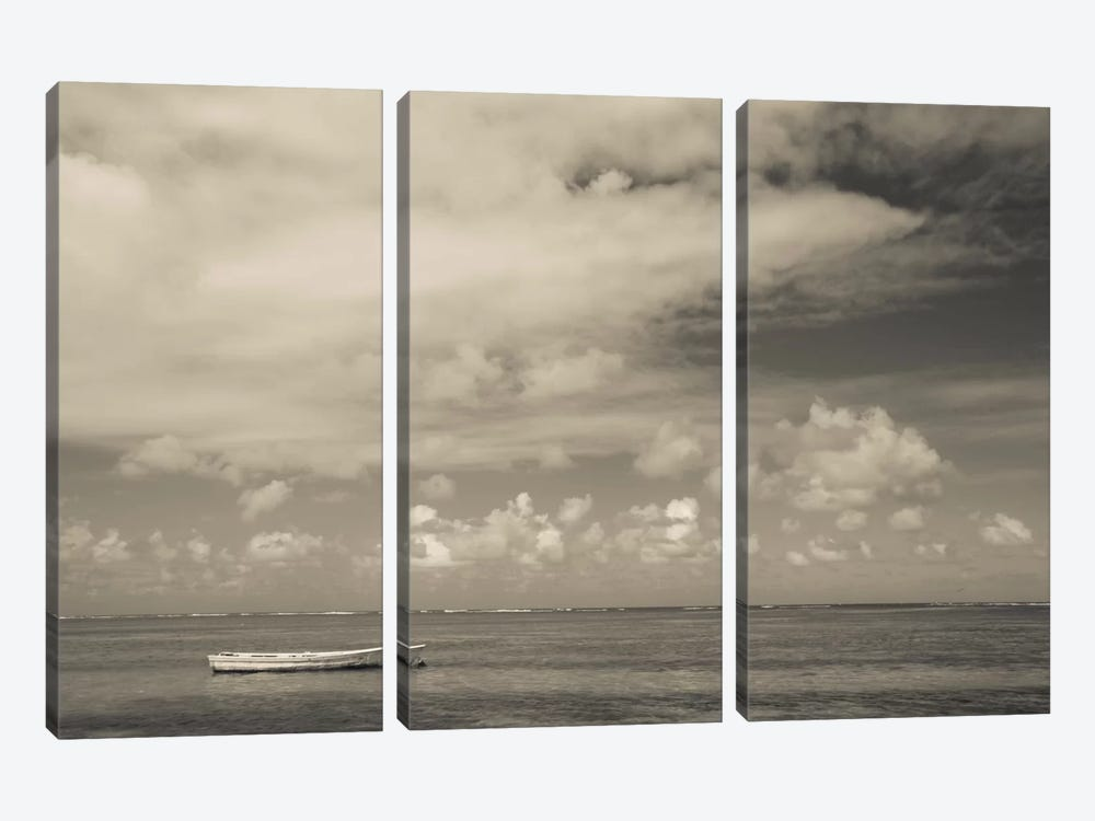 Seascape with a small boat, Playa Luquillo Beach, Luquillo, Puerto Rico by Panoramic Images 3-piece Canvas Wall Art