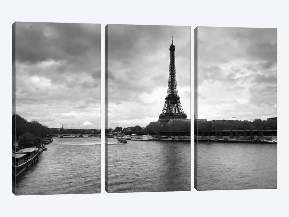 Eiffel Tower from Pont De Bir-Hakeim, Paris, Ile-De-France, France by Panoramic Images 3-piece Canvas Art Print