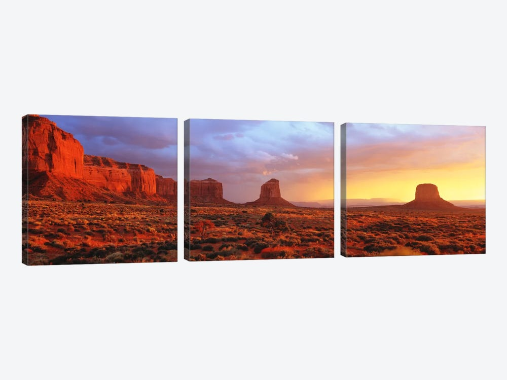 Monument Valley Sunrise, Navajo Nation, Arizona, USA by Panoramic Images 3-piece Canvas Artwork