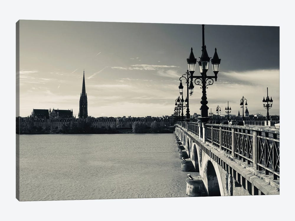 Pont de Pierre bridge across Garonne River, Bordeaux, Gironde, Aquitaine, France 1-piece Canvas Wall Art