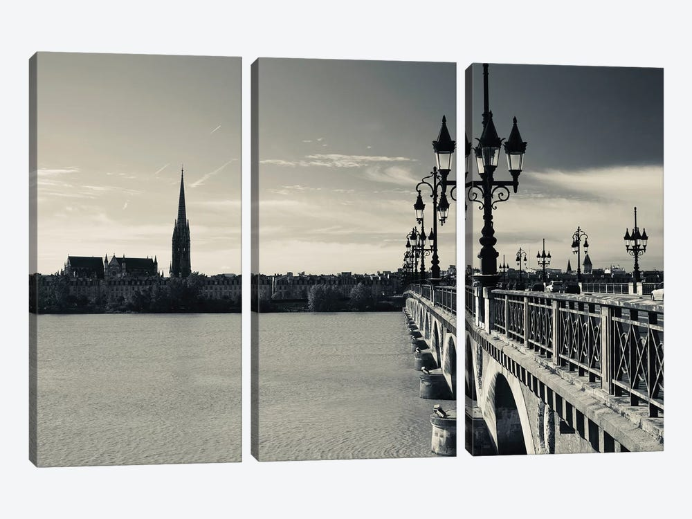 Pont de Pierre bridge across Garonne River, Bordeaux, Gironde, Aquitaine, France 3-piece Canvas Art