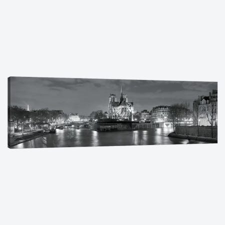Notre Dame and Eiffel Tower at dusk, Paris, Ile-de-France, France Canvas Print #PIM11639} by Panoramic Images Canvas Artwork