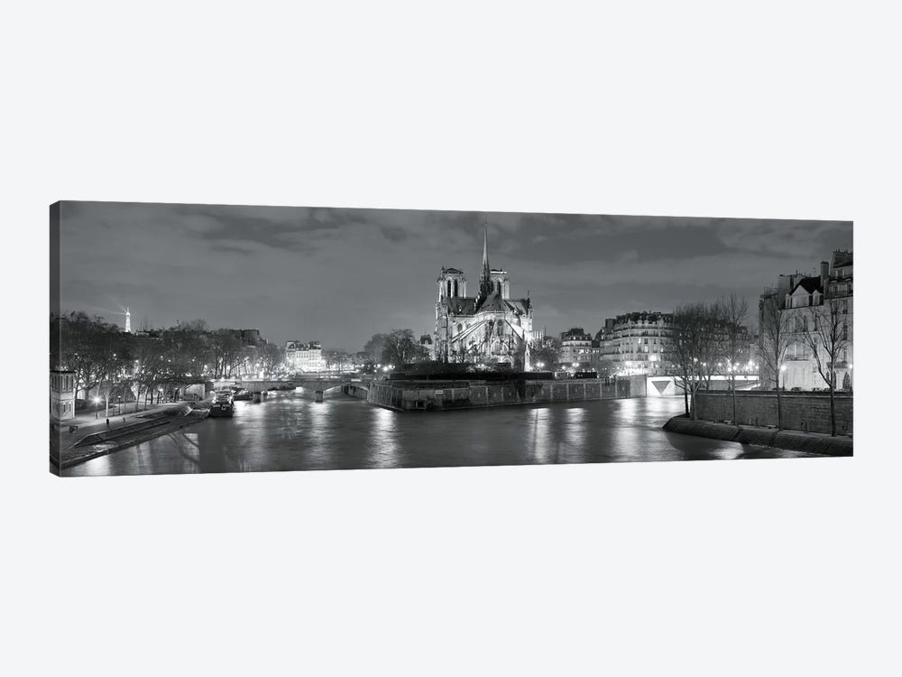 Notre Dame and Eiffel Tower at dusk, Paris, Ile-de-France, France by Panoramic Images 1-piece Canvas Art