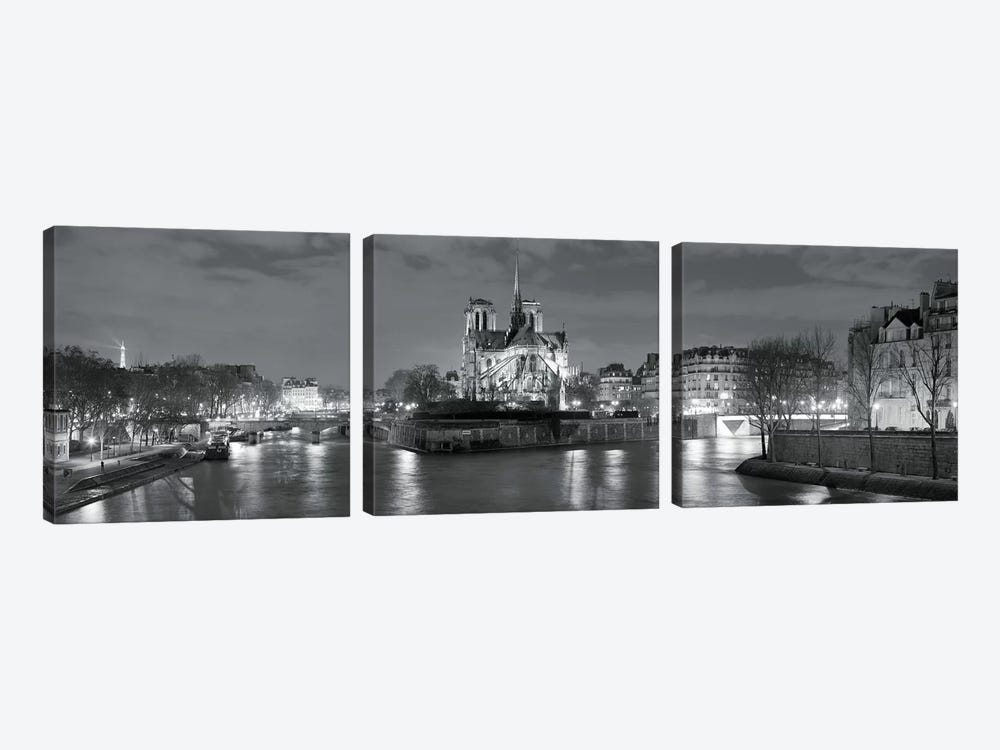Notre Dame and Eiffel Tower at dusk, Paris, Ile-de-France, France by Panoramic Images 3-piece Canvas Wall Art
