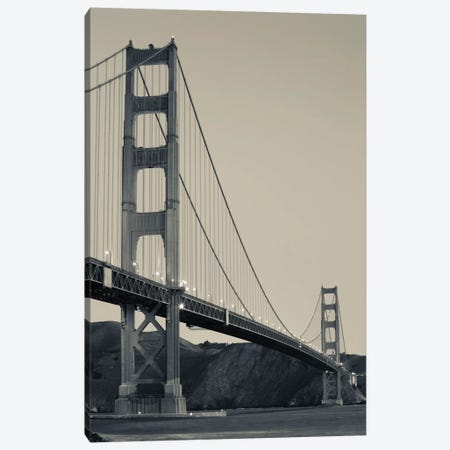 Low Angel view of Golden Gate Bridge from Fort Point at dawn, Golden Gate National Recreation Area, Presidio of San Francisco, San Francisco Peninsula, San Francisco, California, USA Canvas Print #PIM11680} by Panoramic Images Art Print