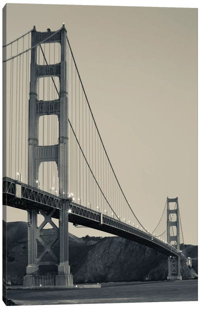 Low Angel view of Golden Gate Bridge from Fort Point at dawn, Golden Gate National Recreation Area, Presidio of San Francisco, San Francisco Peninsula, San Francisco, California, USA Canvas Print #PIM11680