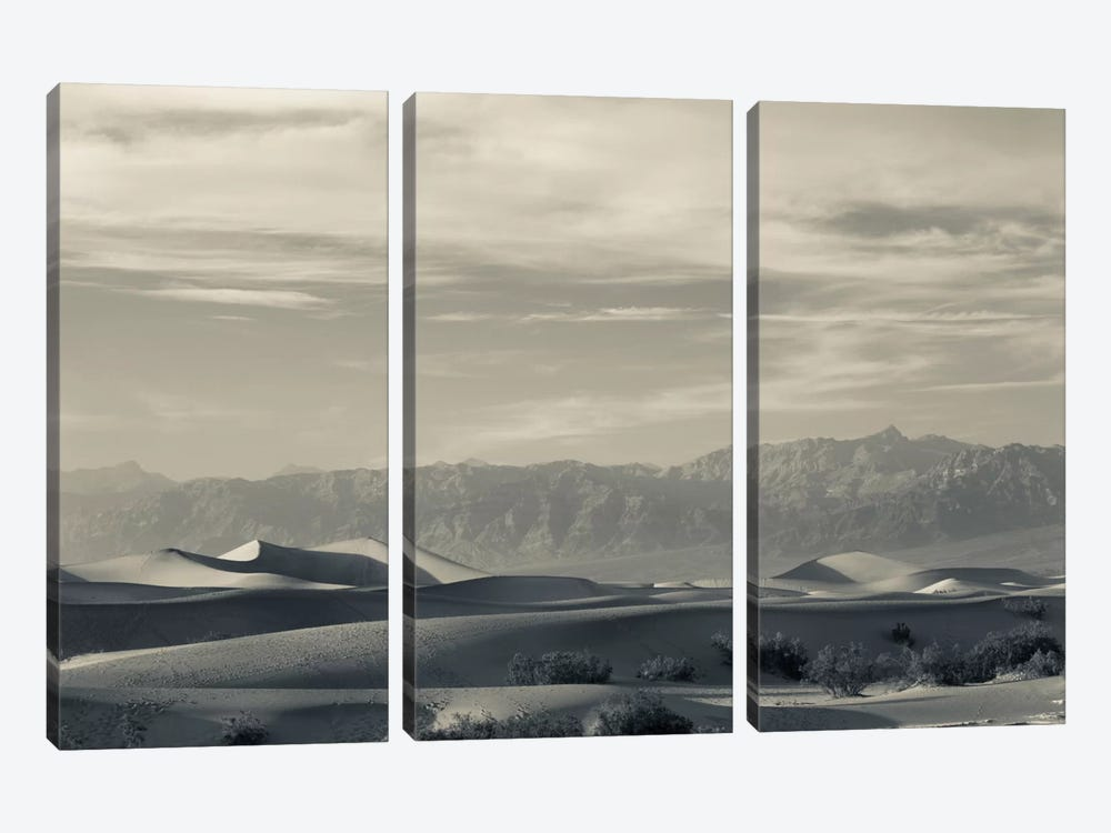 Sand dunes in a desert and Mountain Range, Mesquite Flat Sand Dunes, Death Valley National Park, Inyo County, California, USA by Panoramic Images 3-piece Canvas Art