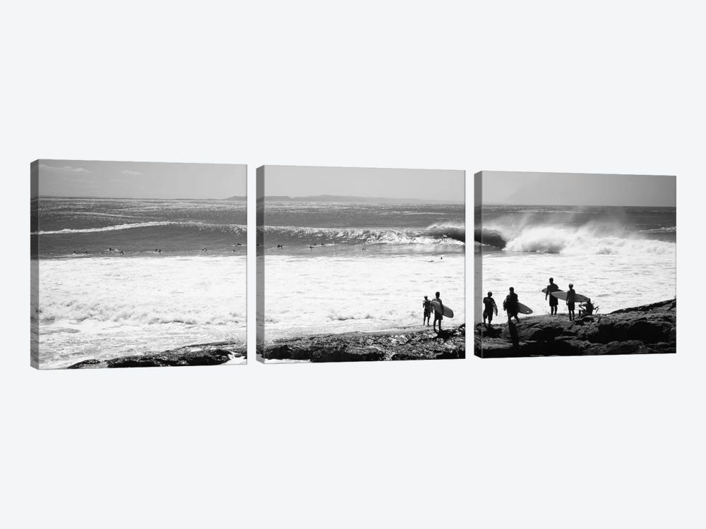Silhouette of surfers standing on the beach, Australia by Panoramic Images 3-piece Canvas Art