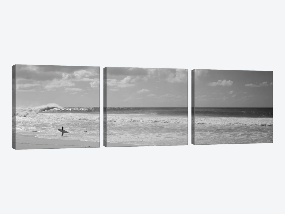 Surfer standing on the beach, North Shore, Oahu, Hawaii, USA by Panoramic Images 3-piece Canvas Artwork