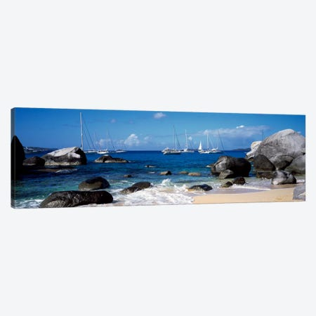 Sailboats Off The Coast Of The Baths, Virgin Gorda, Virgin Islands Canvas Print #PIM1170} by Panoramic Images Canvas Art Print
