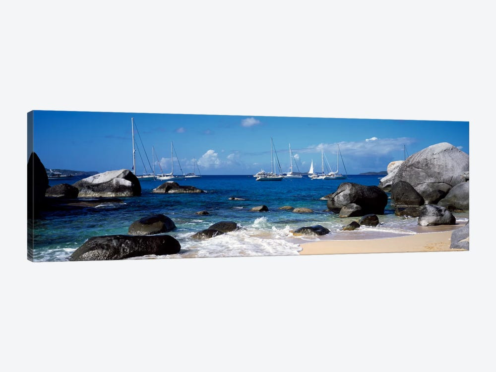 Sailboats Off The Coast Of The Baths, Virgin Gorda, Virgin Islands by Panoramic Images 1-piece Canvas Wall Art
