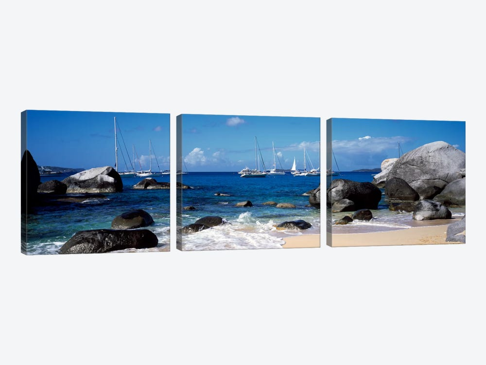 Sailboats Off The Coast Of The Baths, Virgin Gorda, Virgin Islands by Panoramic Images 3-piece Canvas Art