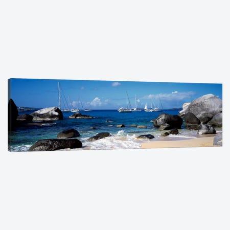 Sailboats Off The Coast Of The Baths, Virgin Gorda, Virgin Islands Canvas Print #PIM1170} by Panoramic Images Canvas Art Print