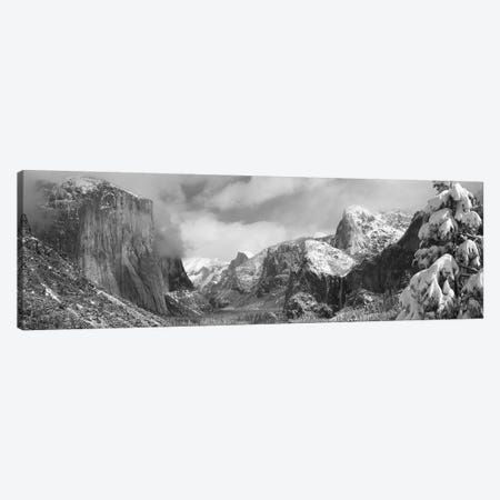 Mountains and waterfall in snow, Tunnel View, El Capitan, Half Dome, Bridal Veil, Yosemite National Park, California, USA Canvas Print #PIM11716} by Panoramic Images Canvas Wall Art