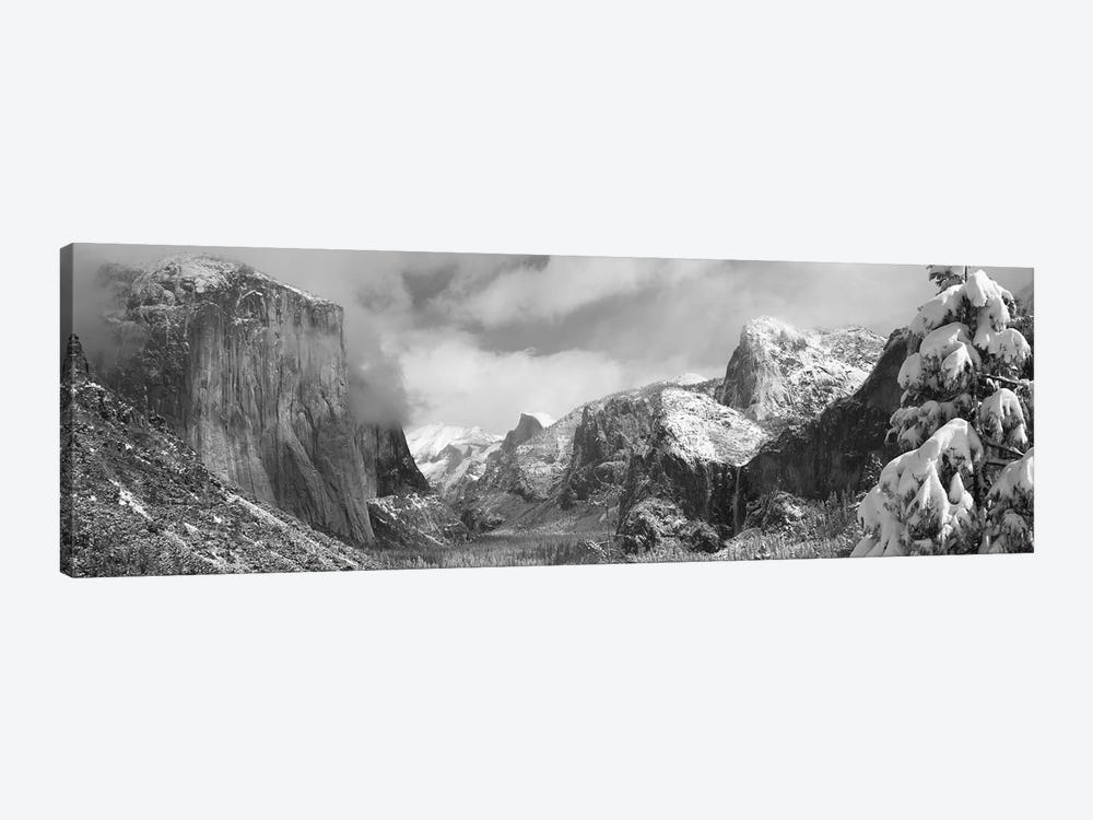 Mountains and waterfall in snow, Tunnel View, El Capitan, Half Dome, Bridal Veil, Yosemite National Park, California, USA by Panoramic Images 1-piece Canvas Art