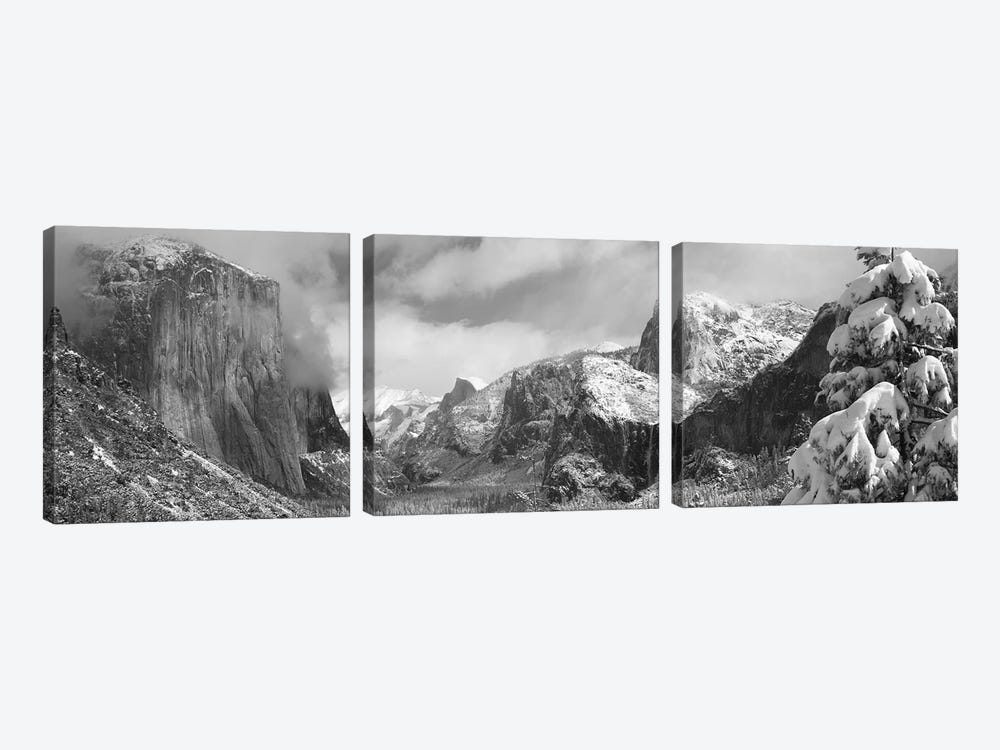 Mountains and waterfall in snow, Tunnel View, El Capitan, Half Dome, Bridal Veil, Yosemite National Park, California, USA by Panoramic Images 3-piece Canvas Artwork