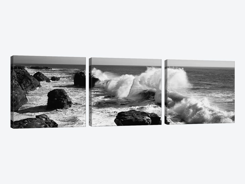 Waves breaking on the coast, Santa Cruz, Santa Cruz County, California, USA by Panoramic Images 3-piece Art Print