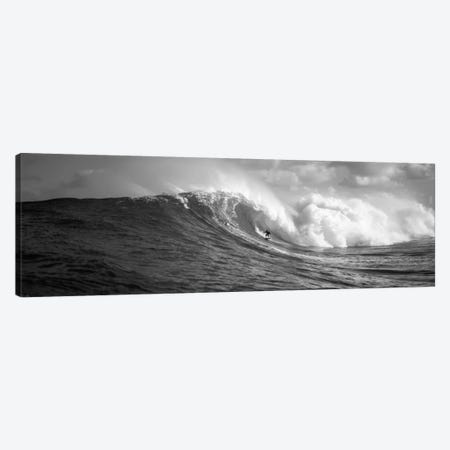 A Lone Surfer In B&W, Maui, Hawaii, USA Canvas Print #PIM11729} by Panoramic Images Canvas Wall Art