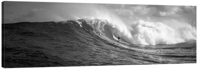 A Lone Surfer In B&W, Maui, Hawaii, USA Canvas Art Print
