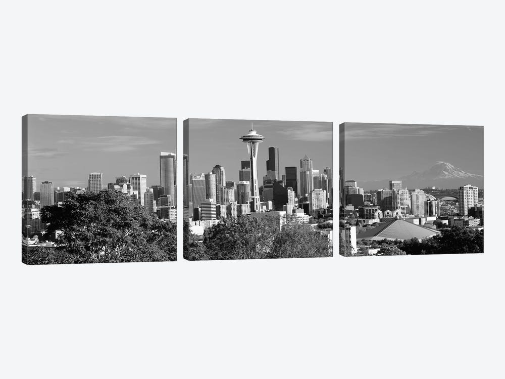 City viewed from Queen Anne Hill, Space Needle, Seattle, King County, Washington State, USA 2010 by Panoramic Images 3-piece Canvas Art Print