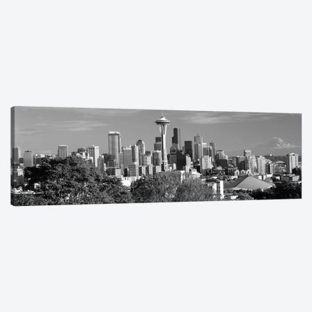 City viewed from Queen Anne Hill, Space Needle, Seattle, King County, Washington State, USA 2010 3-Piece Canvas #PIM11731} by Panoramic Images Art Print
