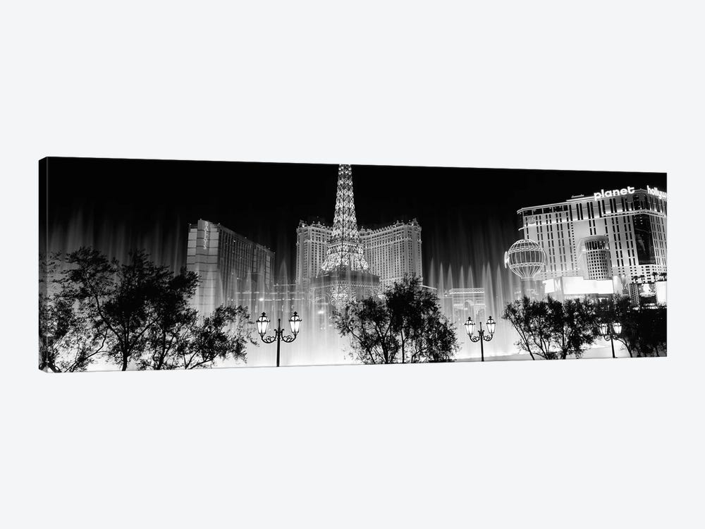 Hotels in a city lit up at night, The Strip, Las Vegas, Nevada, USA by Panoramic Images 1-piece Canvas Print