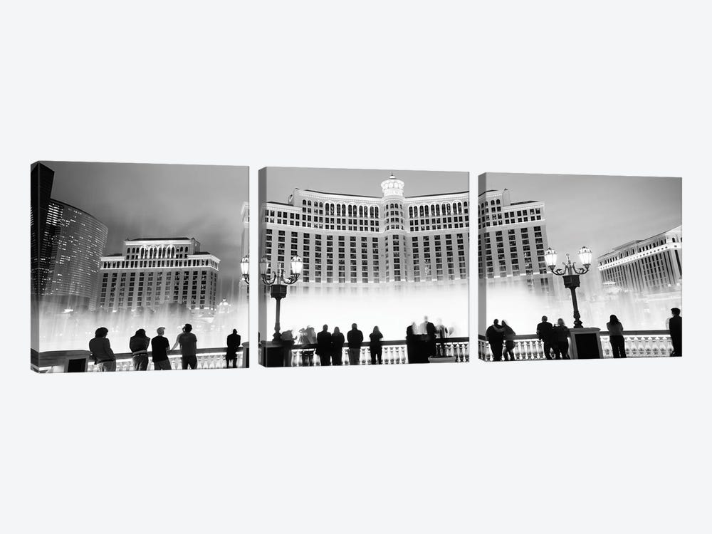 Hotel lit up at night, Bellagio Resort And Casino, The Strip, Las Vegas, Nevada, USA by Panoramic Images 3-piece Art Print