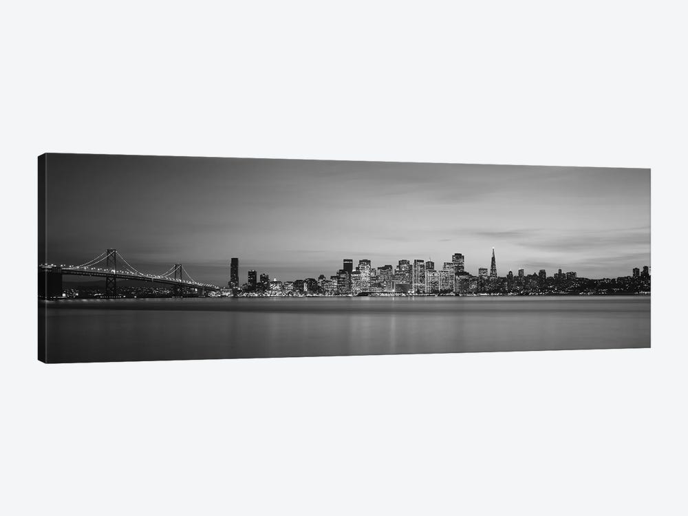 Suspension bridge with city skyline at dusk, Bay Bridge, San Francisco Bay, San Francisco, California, USA by Panoramic Images 1-piece Canvas Art Print