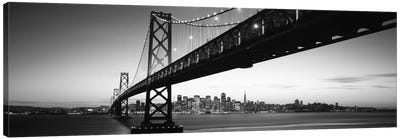Bridge across a bay with city skyline in the background, Bay Bridge, San Francisco Bay, San Francisco, California, USA #2 Canvas Art Print