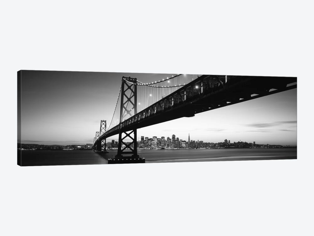 Bridge across a bay with city skyline in the background, Bay Bridge, San Francisco Bay, San Francisco, California, USA #2 by Panoramic Images 1-piece Canvas Art
