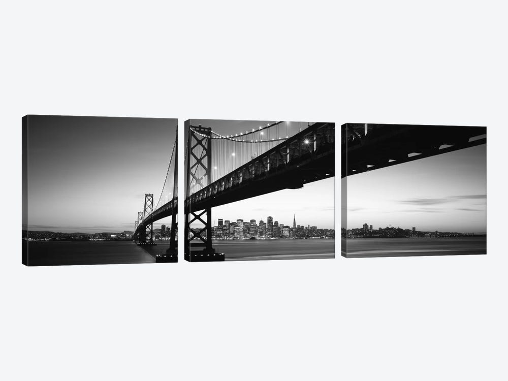 Bridge across a bay with city skyline in the background, Bay Bridge, San Francisco Bay, San Francisco, California, USA #2 by Panoramic Images 3-piece Canvas Wall Art