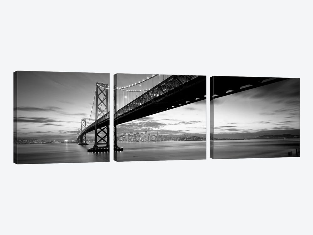 Twilight, Bay Bridge, San Francisco, California, USA by Panoramic Images 3-piece Canvas Art Print